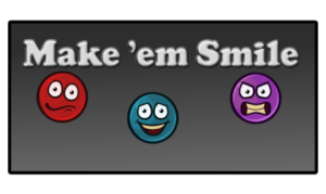 Game poster for Make 'em Smile, a sorting game.